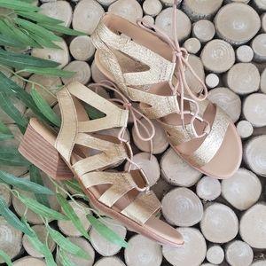 Kork-ease Gold Leather Skyway Gladiator Sandals